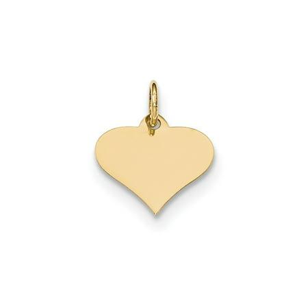 - Solid 14k Yellow Gold Plain .009 Gauge Engraveable Heart Disc Pendant Charm (14mm x 15mm)
