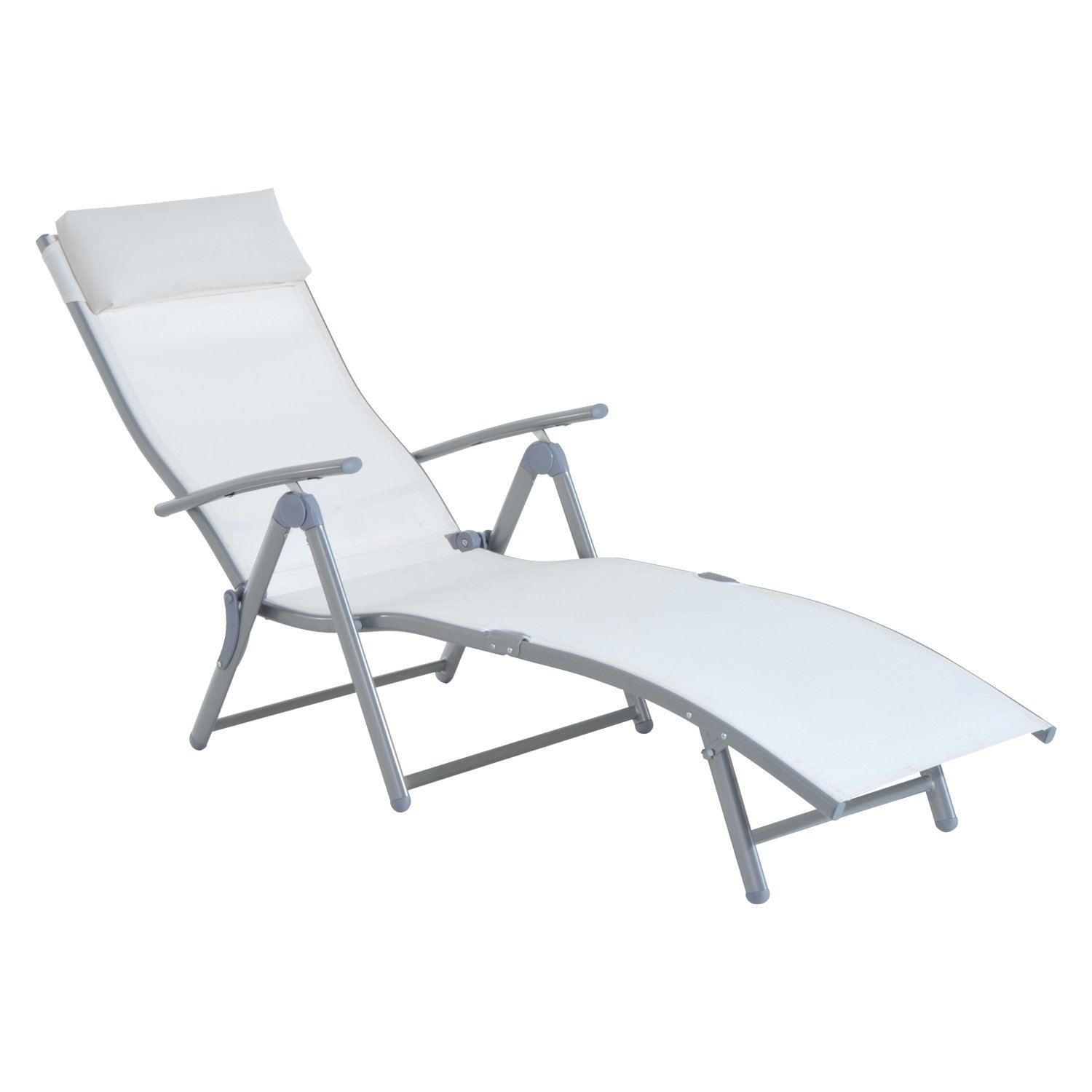 outsunny patio reclining chaise lounge chair with cushion cream white