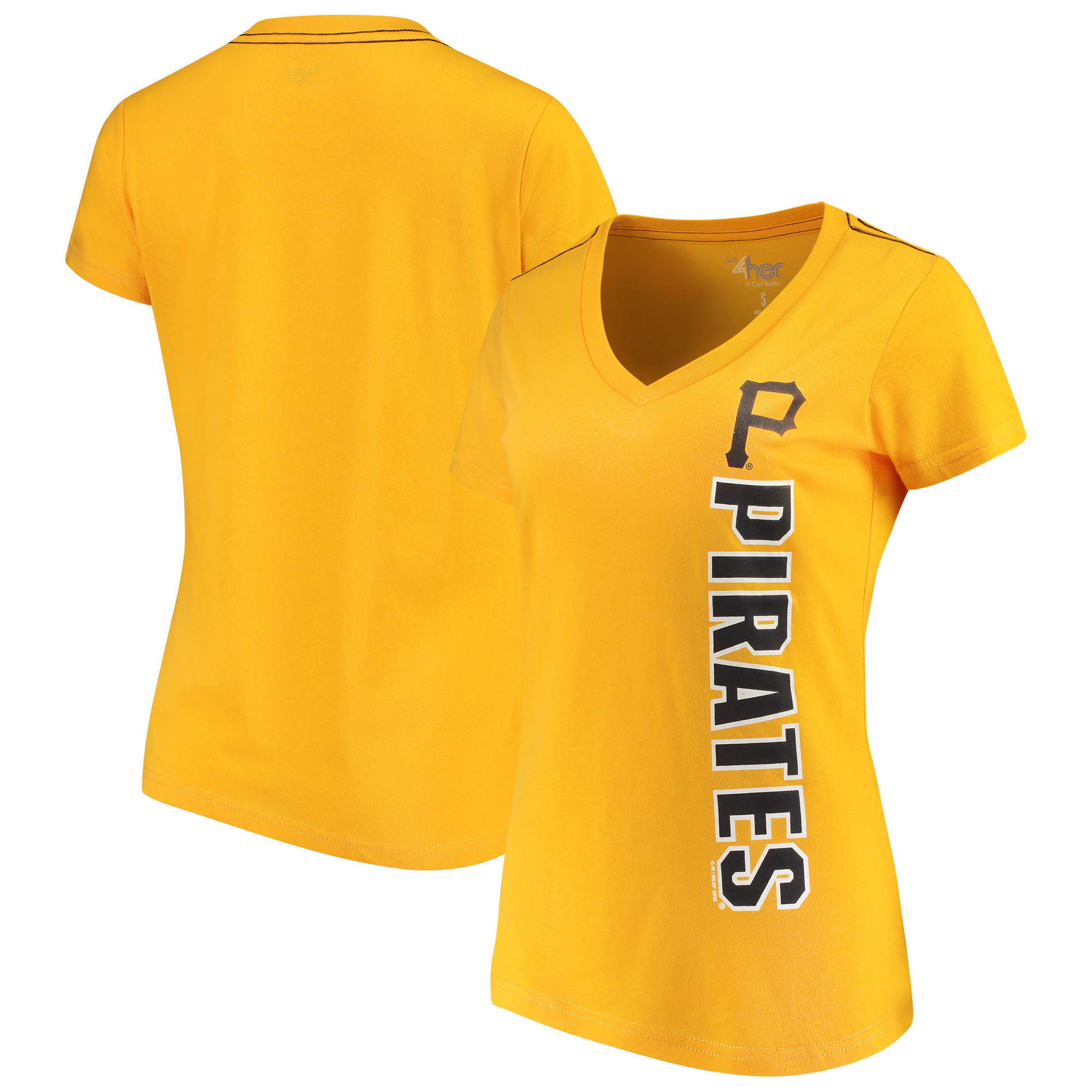 Pittsburgh Pirates G-III 4Her by Carl Banks Women's Asterisk V-Neck T-Shirt - Gold