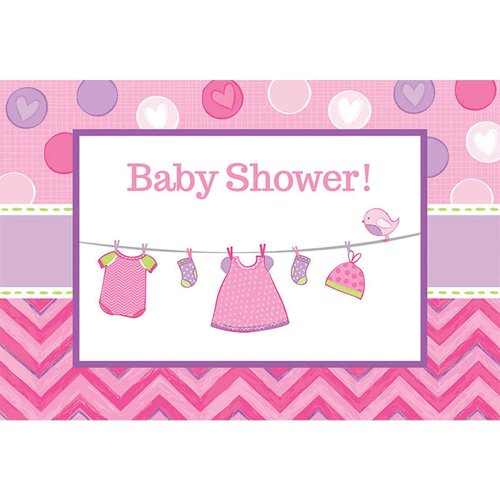 Baby Shower Girl Shower with Love Invitations, Pack of 8