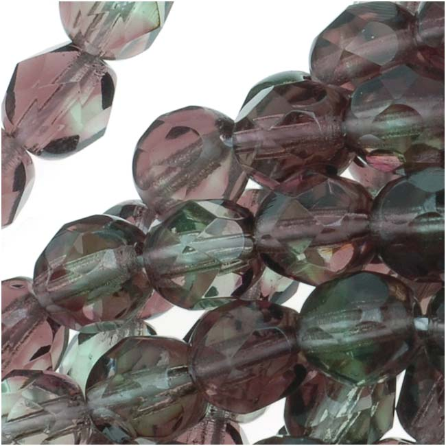 Czech Fire Polished Glass Beads 6mm Round Two Tone Amethyst/Green (25)
