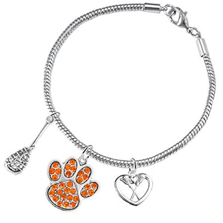 Lacrosse Jewelry, Orange Crystal Paw Jewelry, ©2015 Hypoallergenic Safe-Nickel, Lead And Cadmium Free! Lacrosse Jewelry Orange Crystal Paw Jewelry 2015