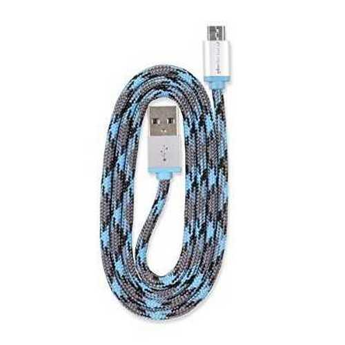 Refurbished 360 Electrical 360401 QuickCharge Braided Micro USB Cable, 3'/0.9m, Blue