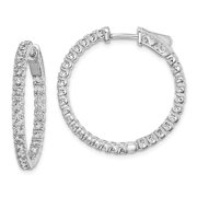 Roy Rose Jewelry Sterling Silver Rhodium-plated In and Out CZ Hinged Hoop Earrings