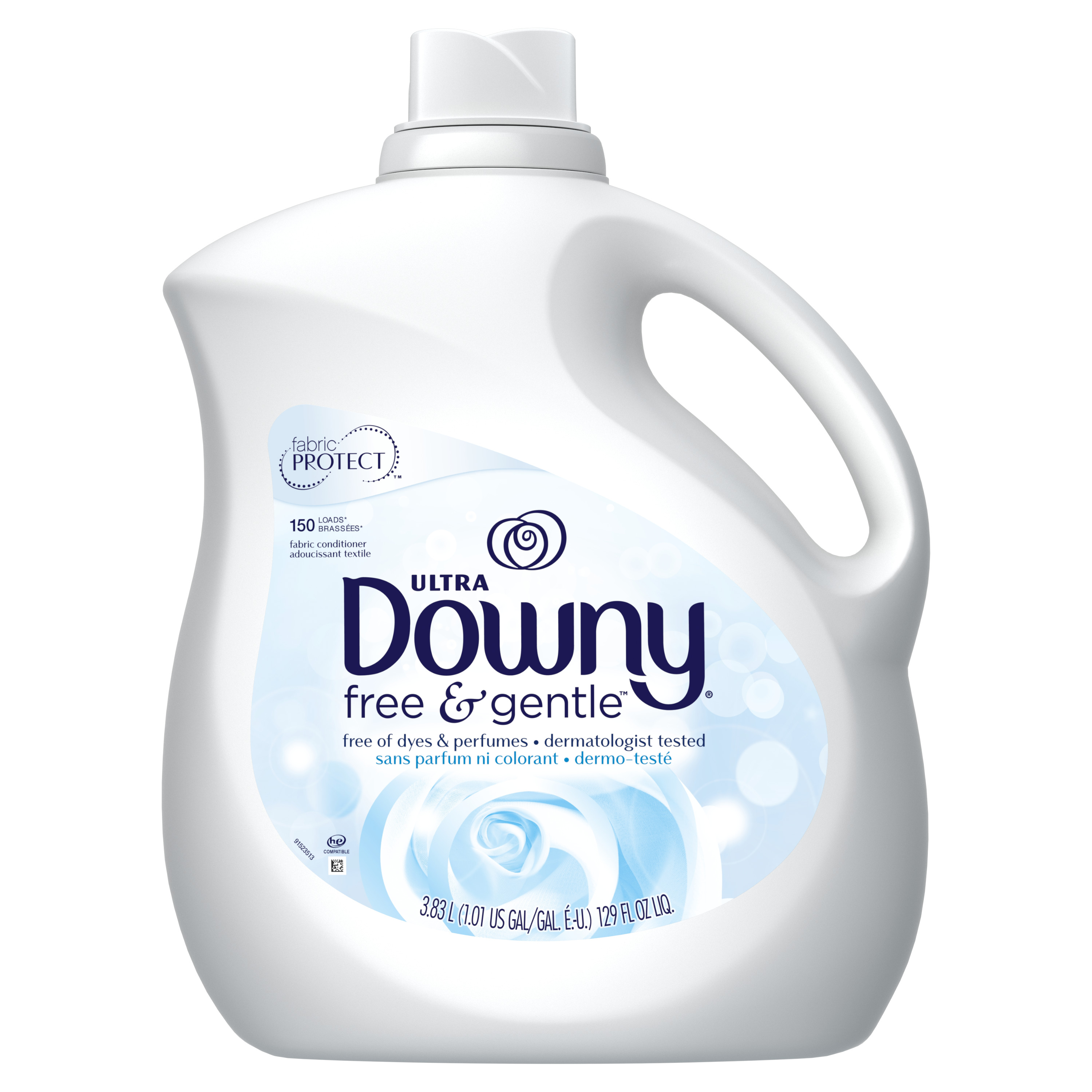 Downy Ultra Liquid Fabric Conditioner (Fabric Softener), Free & Gentle, 150 Loads 129 fl oz