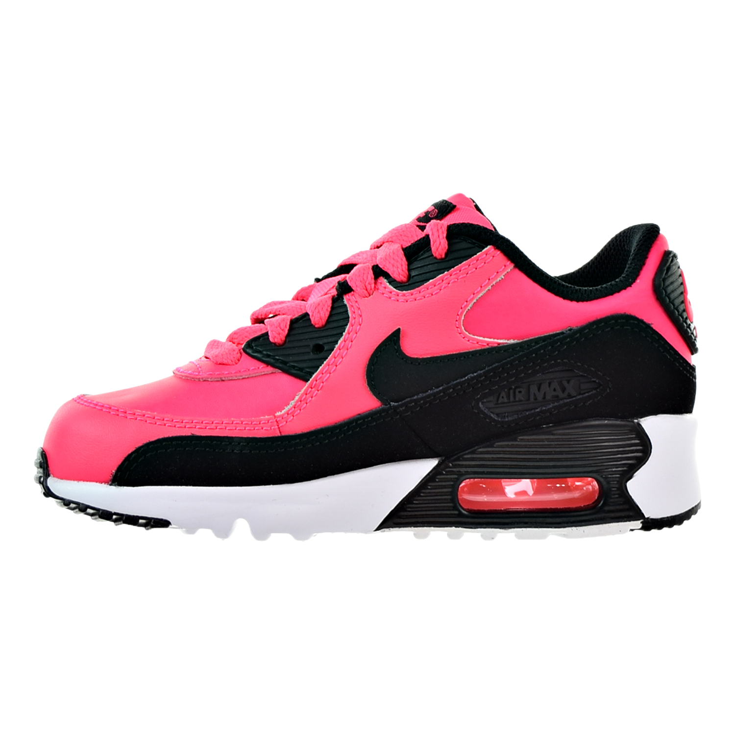 Nike Air Max 90 Leather Little Kid's Shoes Racer Pink/Black/White 833377-600