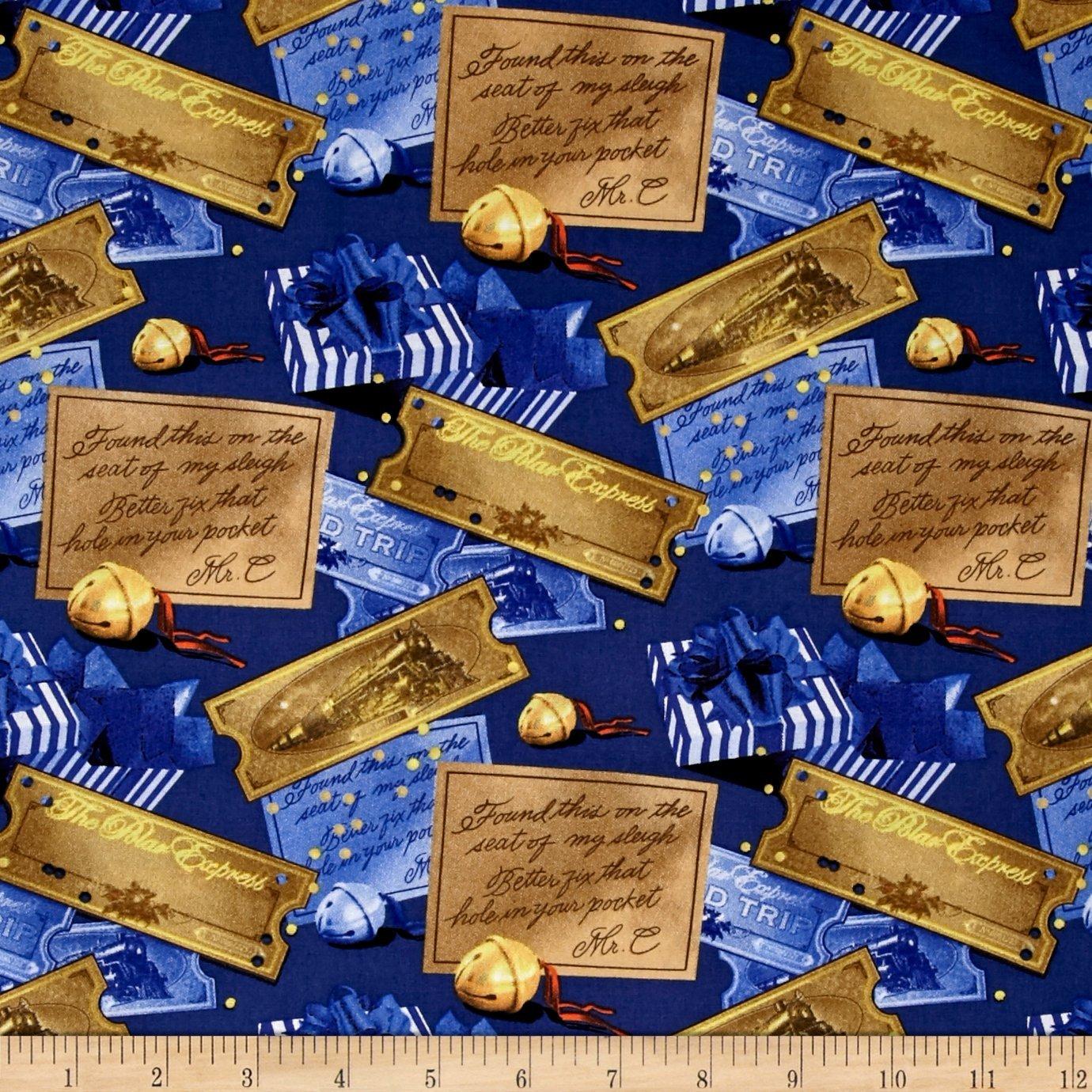 Christmas-Polar Express 43/44 Wide 100% Cotton D/R-Ticket & Bell Toss, 100% Cotton By CAMELOT Fabrics