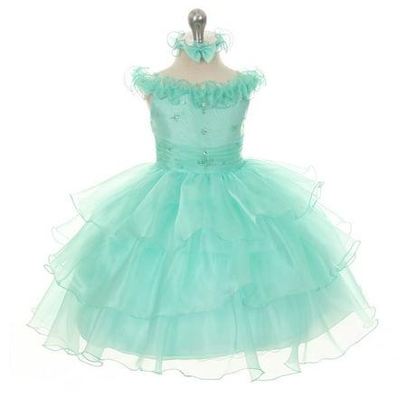 Rain Kids Little Girls Mint Organza Off Shoulder Flower Girl Dress 3T](3t Princess Dress)