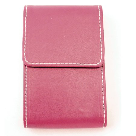 Faux Pink Leather Business Card Holder Id Credit Case Wallet Women