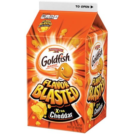 Merlot Cheddar - Pepperidge Farm Goldfish Flavor Blasted Xtra Cheddar Crackers, 30 oz. Carton