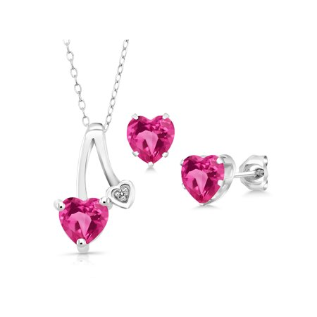 2.41 Ct Pink Created Sapphire White Diamond 925 Silver Pendant Earrings Set