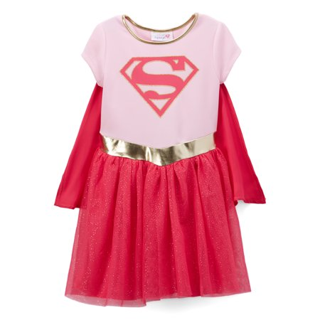 Toddler Girls Supergirl Costume Dress w/ Cape Pink Cosplay Halloween - Cosplay Halloween Costume