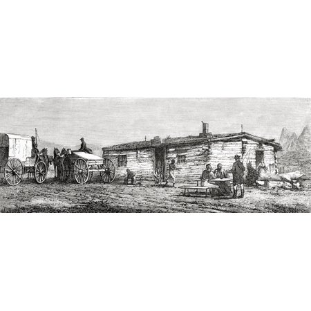 Staging Post Station In The Utah Desert America In The 19Th Century From El Mundo En La Mano Published 1875 Canvas Art - Ken Welsh  Design Pics (36 x 14) (Halloween Pics To Post)
