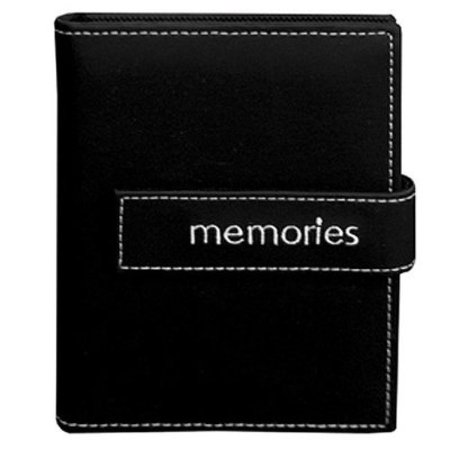 Pioneer Photo Albums 36-Pocket 4 by 6-Inch Embroidered Memories Strap Sewn Leatherette Cover Photo Album, Mini, Black
