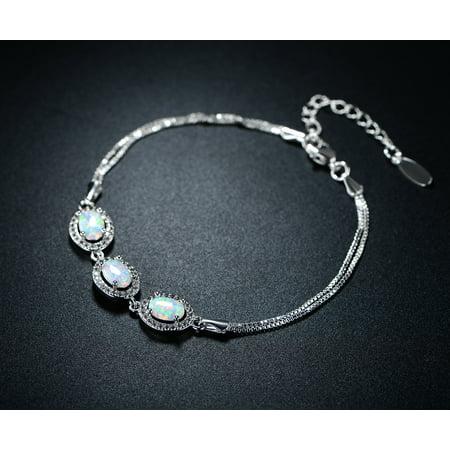 Rhodium-Plating White Fire Opal Oval-Link Double Strand Bracelet