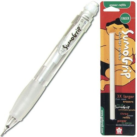 Sumo Grip Clear Mechanical Pencil & Jumbo Eraser Kit Jumbo Grip Pencils