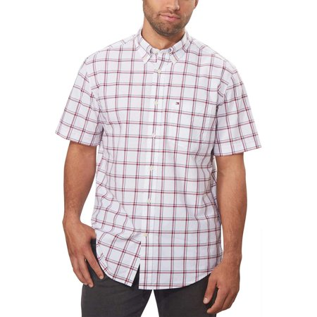 Tommy Hilfiger Mens Classic Fit Short Sleeve Button Down Plaid Shirt