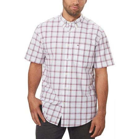 Tommy Hilfiger Mens Classic Fit Short Sleeve Button Down Plaid Shirt