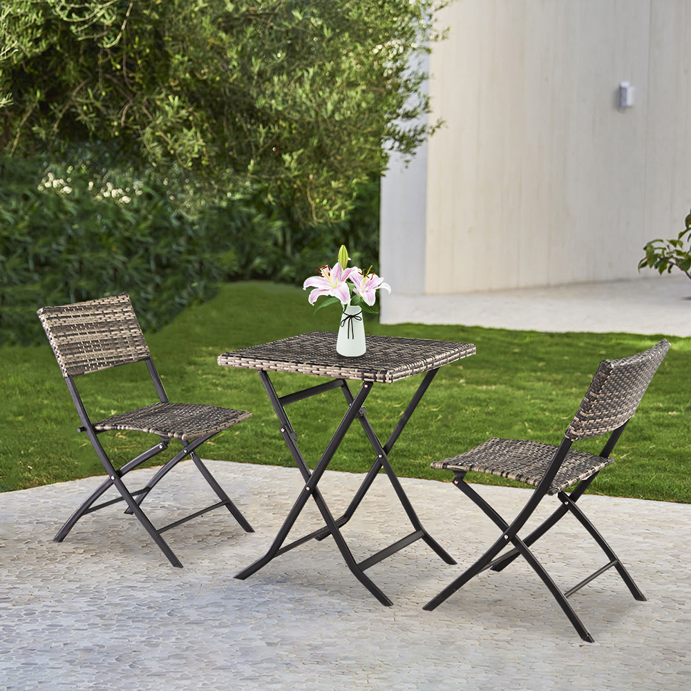 Enyopro Outdoor Patio Folding Chair Set 3 Pcs All Weather Rattan Bistro Set Deck Dining Set Table With 2 Chairs Modern Wicker Conversation Furniture Set Ideal For Garden Back Balcony B803 Walmart Com