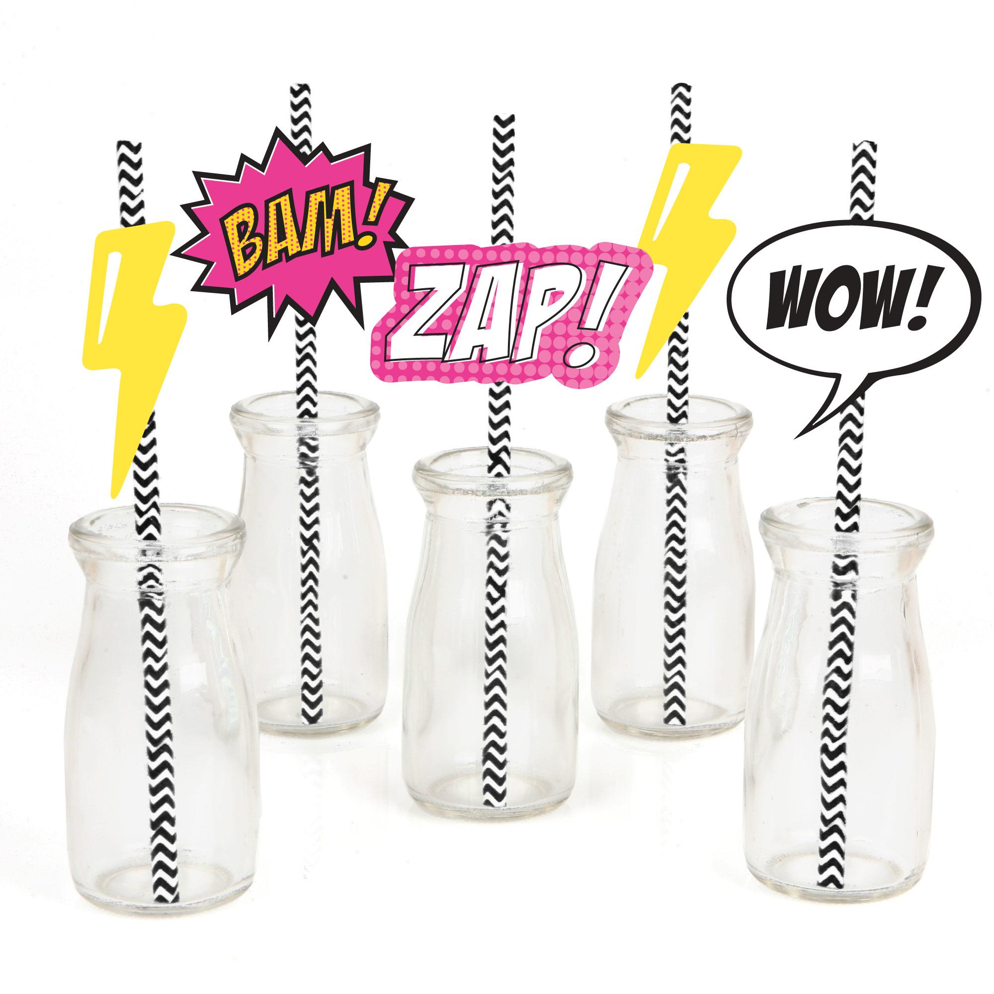BAM! Girl Superhero - Paper Straw Decor - Baby Shower or Birthday Party Striped Decorative Straws - Set of 24