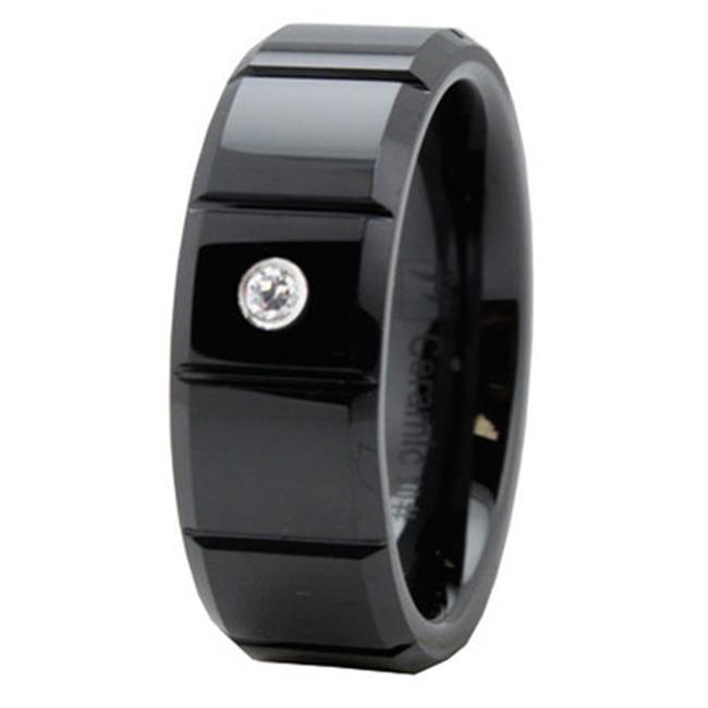 EWC R40076-140 Beveled Black Ceramic Ring with CZ - Size 14