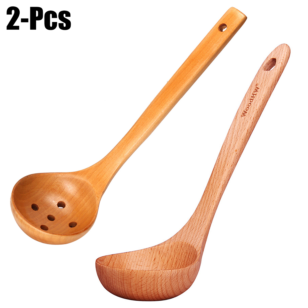 Justdolife Soup Ladle Wooden Multi-purpose Cooking Ladle with Strainer Spoon for Kitchen