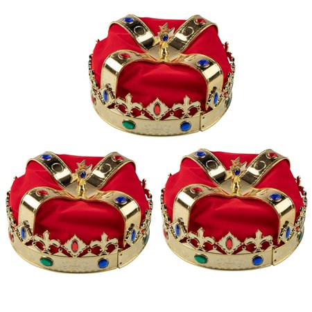 Gold Crown - 3-Pack Royal King and Queen Jeweled Costume Accessories, Adult Party Hats for Halloween, Dress-Up, Birthday Events, 7.2 x 7.2 x 5.1 Inches