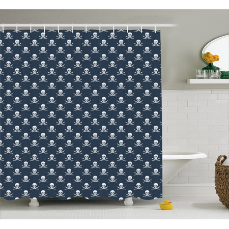 Pirates Shower Curtain, Jolly Roger Pattern in Classic Nautical Colors Dangerous Halloween Character, Fabric Bathroom Set with Hooks, 69W X 84L Inches Extra Long, Dark Blue White, by Ambesonne - Roger Williams Park Halloween