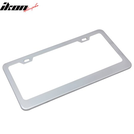 Chrome Metal Finish Stainless Steel License Plate Frame Cover + Screw Caps Chrome License Plate Screws