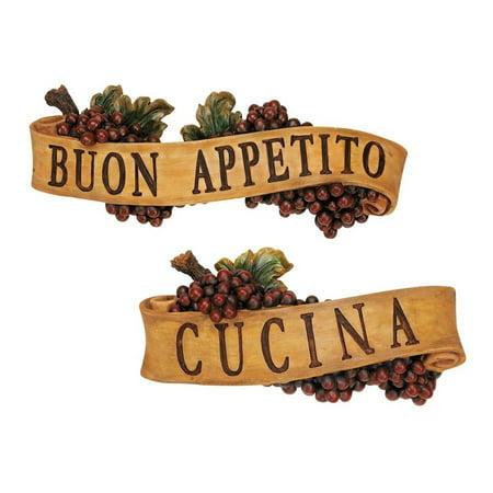 Italian Wall Plaque (Italian Buon Appetito and Cucina Kitchen Grapes Sculptural Wall Plaque Décor)
