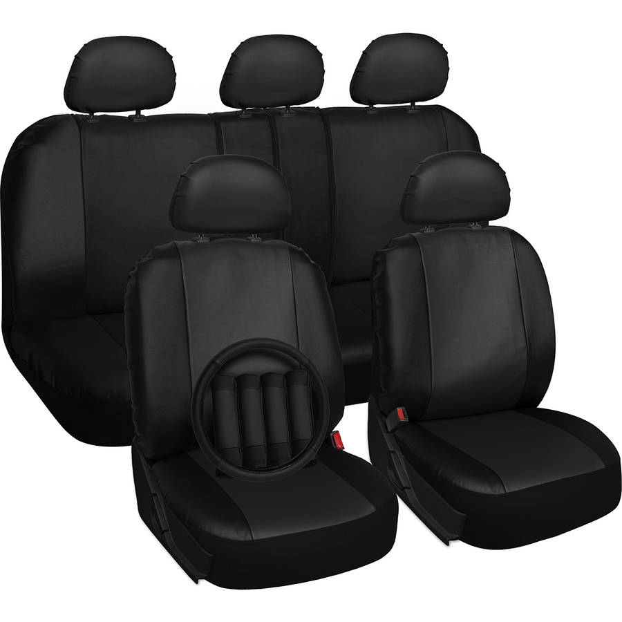 Oxgord 17-Piece Set Faux Leather/Auto Seat Covers Set, Airbag Compatible, 50/50 or 60/40 Rear Split Bench, Universal Fit for Car, Truck, or SUV, FREE Steering Wheel Cover, Black