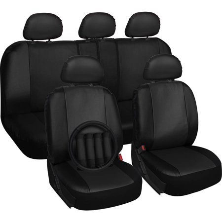 Oxgord 17 Piece Set Faux Leather Auto Seat Covers Airbag Compatible