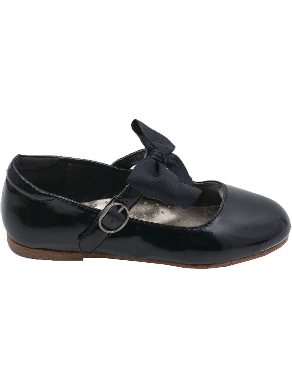 L'Amour Little Girls Black Grosgrain Bow Flats Dress Shoes 11-4 Kids