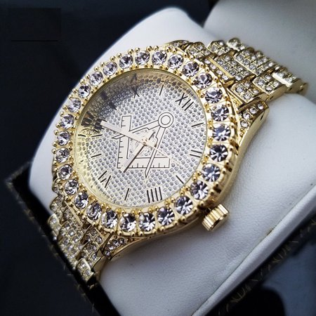 MENS ICED OUT HIP HOP GOLD PT LUXURY MASONIC FREEMASON METAL BAND WRIST WATCH  Chevy Metal Band Watch