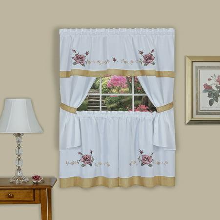 Rose Embellished Cottage Window Curtain Set ()