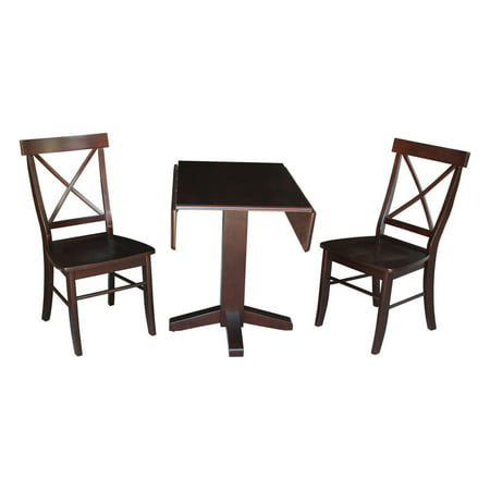 Square Dual Drop Leaf Table and 2 X-back Chairs in Rich Mocha - Set of 3 (Dropleaf Kitchen Table And Chairs)