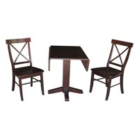 Square Dual Drop Leaf Table and 2 X-back Chairs in Rich Mocha - Set of 3
