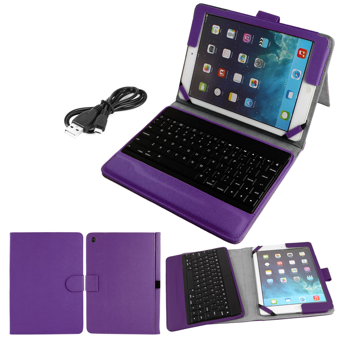 Unique Bargains bluetooth Keyboard PU Leather Protective Stand Case Cover Purple for iPad 2 3 4