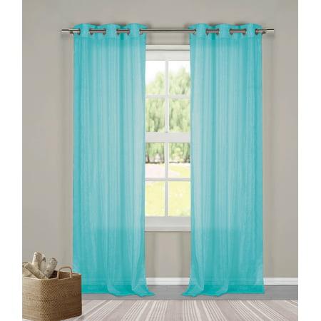 Two (2) Sheer Grommet Window Curtain Panels: Turquoise Metallic, 76