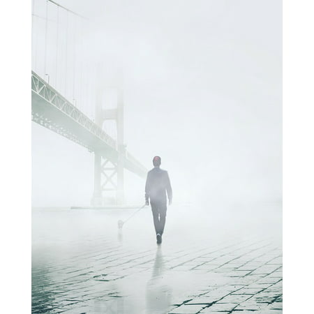 LAMINATED POSTER Fog Man Back Dog Bridge Walk San Francisco Bay Poster Print 24 x - Back Bridge