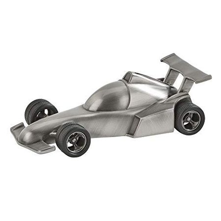 (D) Unusual Gifts for Men who Have Everything, Silver Coin Jar F1 Car, Vintage If you are looking for a memorable gift for a boss or friend - this piggy bank will help you. Not only will kids love this bank but it also makes a great corporate gift. The coin slot is located on the top of the piece. Manufactured in a non-tarnish, brushed pewter finish. Dimensions: 1.75  H x 3  W x 6  L Use This Saving Bank In Your House To Store Loose Change And Keep Track Of Your Accrued Savings Fun Vintage Coin Bank With A Matte, Metallic Finish Makes It A Striking Decor Accent To Your Interior And A Gorgeous Piece To Showcase On Any Shelf, Desk, Or Coffee Table This Coin Bank for Boys has Stylish And Cute Vintage Design Makes A Great Gift For Birthdays And Special Theme Parties. Gift Boxed