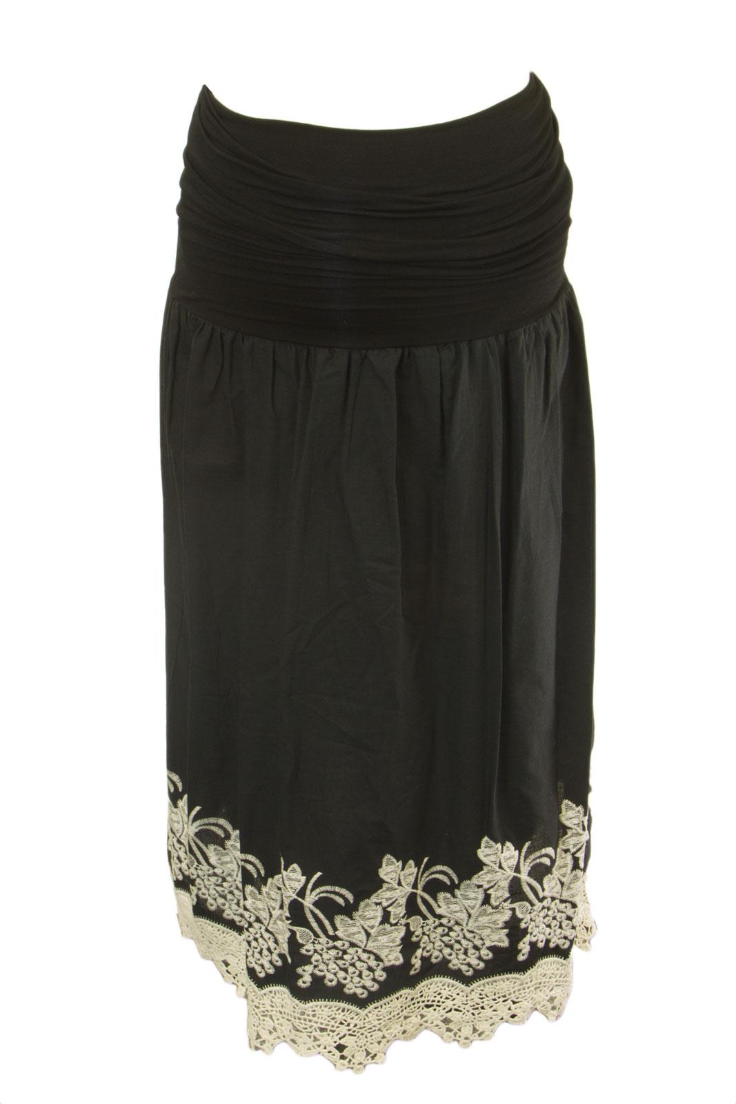 OLIAN Maternity Women's Black Crochet Trim A-Line Skirt H21713 by H21713