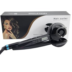Automatic Ceramic Hair Curler Roller Tool with LCD Display Black