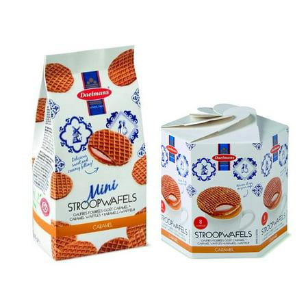 Mini Waffle (Daelmans Stroopwafels Caramel Bundle Pack Hex Box & Mini Wafers Bag (Pack of 2) )
