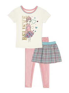 365 Kids From Garanimals Girls Graphic T-Shirt, Skirt and Leggings, 3-Piece Outfit Set, Sizes 4-10