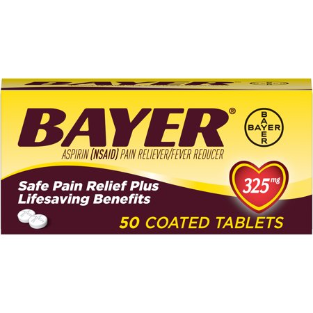 Genuine Bayer Aspirin Pain Reliever / Fever Reducer 325mg Coated Tablets, 50