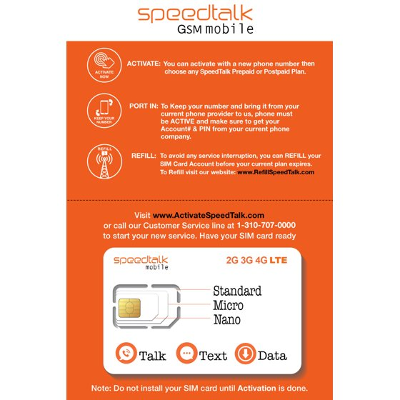 SpeedTalk Mobile Multi-Purpose Triple Cut SIM Card Starter Kit - No  Contract (Universal SIM: Standard, Micro, Nano)