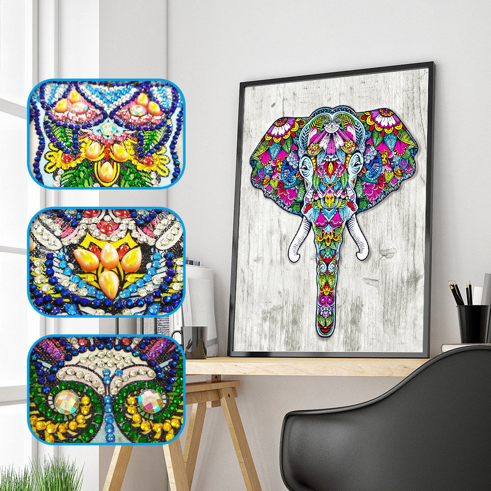 Outtop Special Shaped Elephant Diamond Painting DIY 5D Partial Drill Cross Stitch Kits