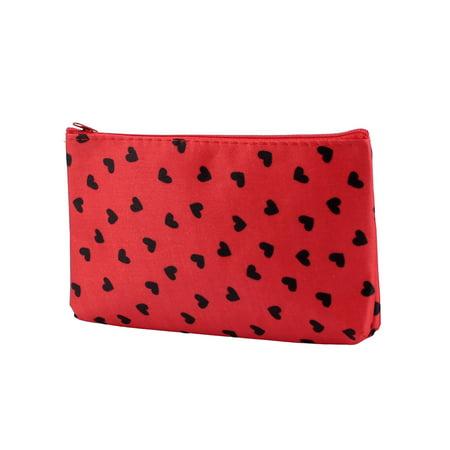 Double Zip Hand Pouch (Lady Women Zip Up Heart Print Nylon Handbag Purse Pouch Cosmetic Bag Black Red)