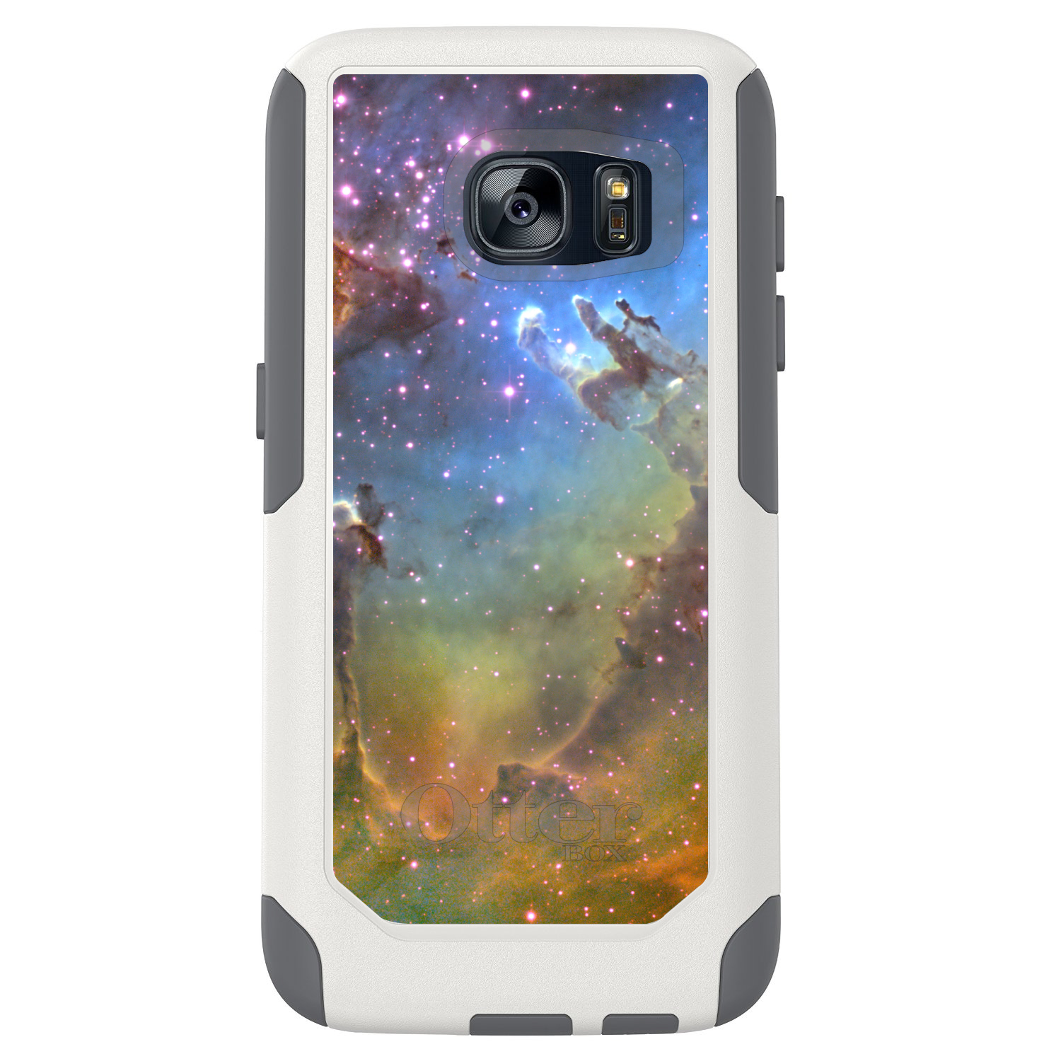 DistinctInk™ Custom White OtterBox Commuter Series Case for Samsung Galaxy S7 - Eagle Nebula Orange Blue